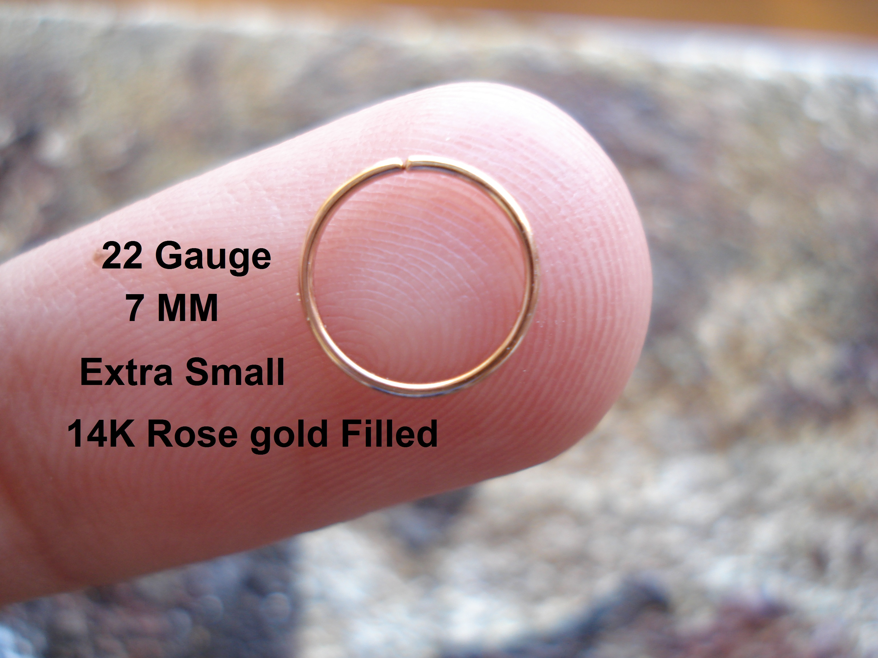 Extra Small 22 Gauge 14k Rose Gold Filled For Nose Ring Hoop Helix