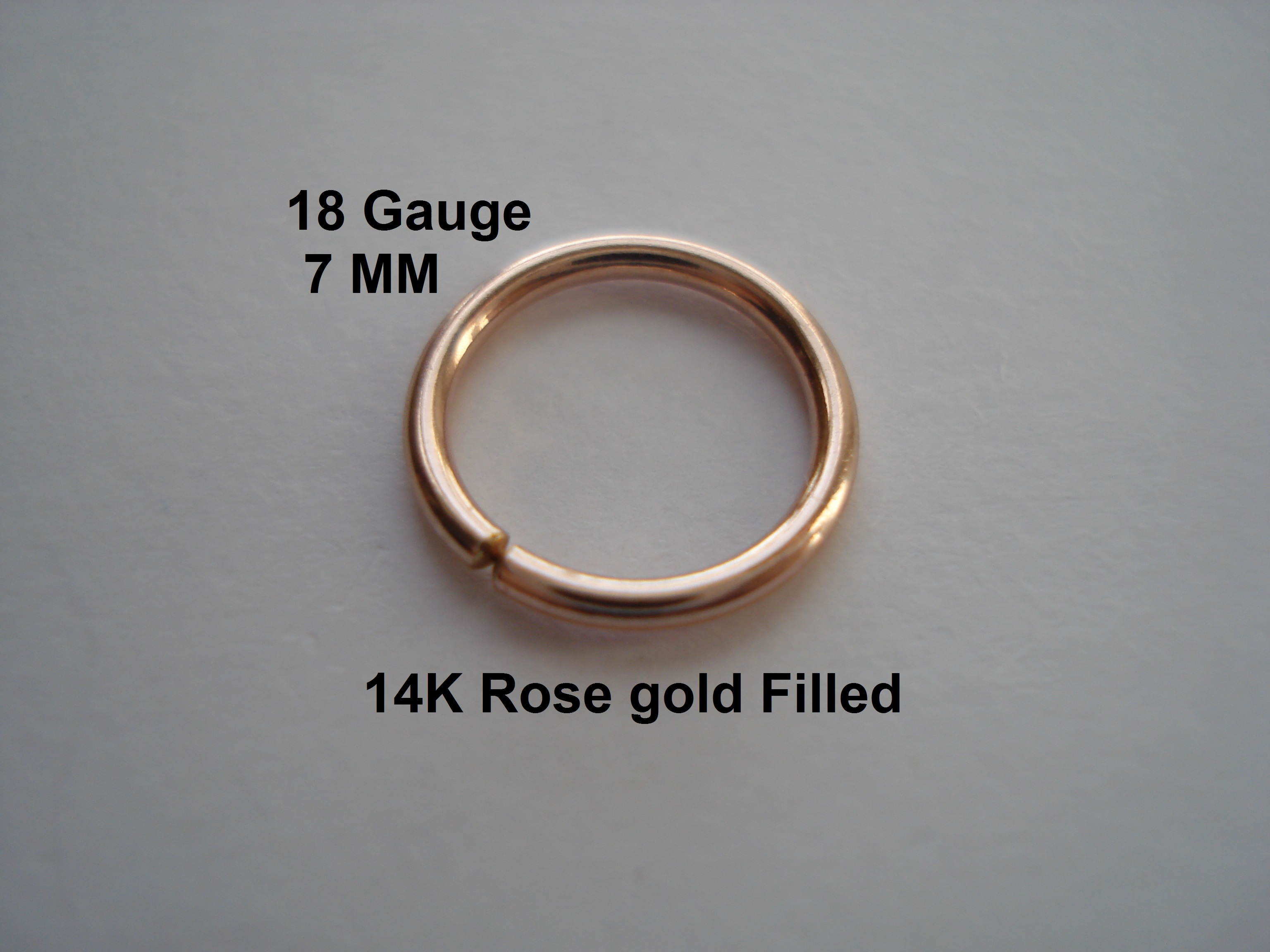 18G Gauge 14K Rose Gold Filled SeptumNose RingHoop HelixEarring